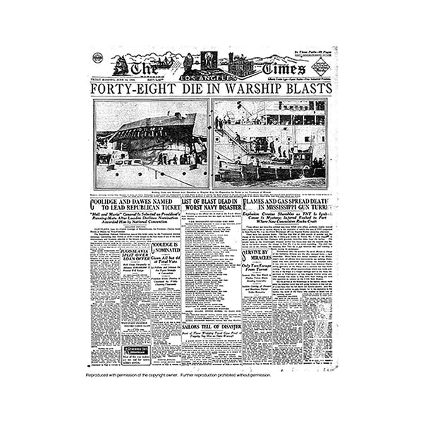 Historical Front Page - Warship Blast