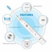 Load image into Gallery viewer, iRULU Electric Sonic Toothbrush USB Fast Charging+Rechargeable Brush Head Timer