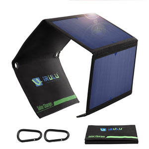 iRULU Solar Charger, Portable Solar Power Bank 21W Waterproof with Two Dual USB Port, for Cell Phone,iPhone,Samsung,Android Phones,Windows Phones
