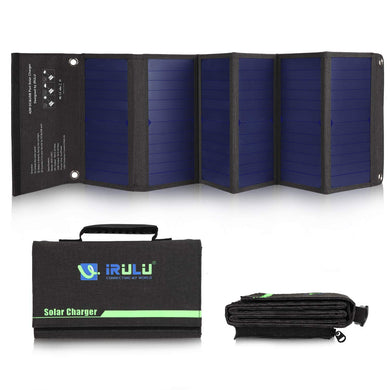 iRULU Solar Charger, Portable Solar Power Bank 42W Waterproof with Two DC&USB Ports, for Cell Phones,iPhone,Samsung,Android Phones,Windows Phones and Laptops
