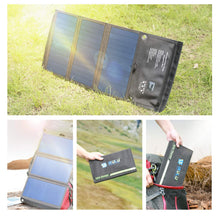 Load image into Gallery viewer, iRULU Solar Charger, Portable Solar Power Bank 21W Waterproof with Two Dual USB Port, for Cell Phone,iPhone,Samsung,Android Phones,Windows Phones
