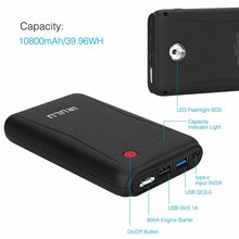 Load image into Gallery viewer, 10800MAH CAR JUMP STARTER 600A PEAK JUMPER START BATTERY BOOSTER POWER BANK NEW