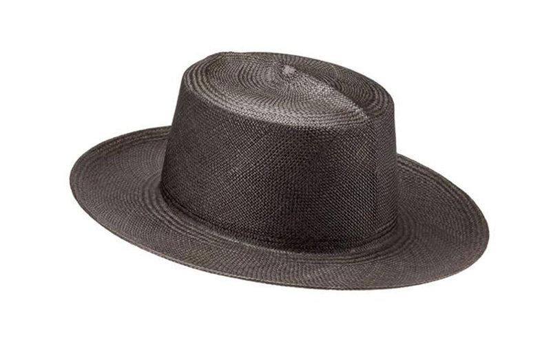 MAVIS WIDE BRIM PANAMA STRAW HAT - BLACK