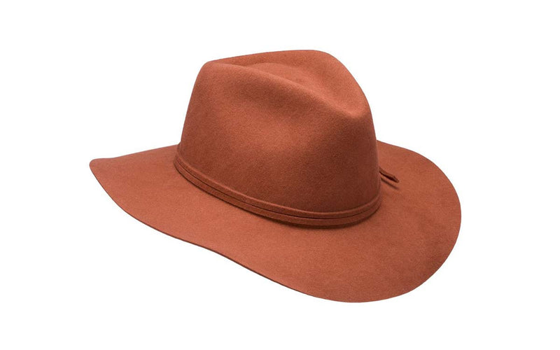 PHOEBE WIDE BRIM WOOL HAT - BURNT ORANGE