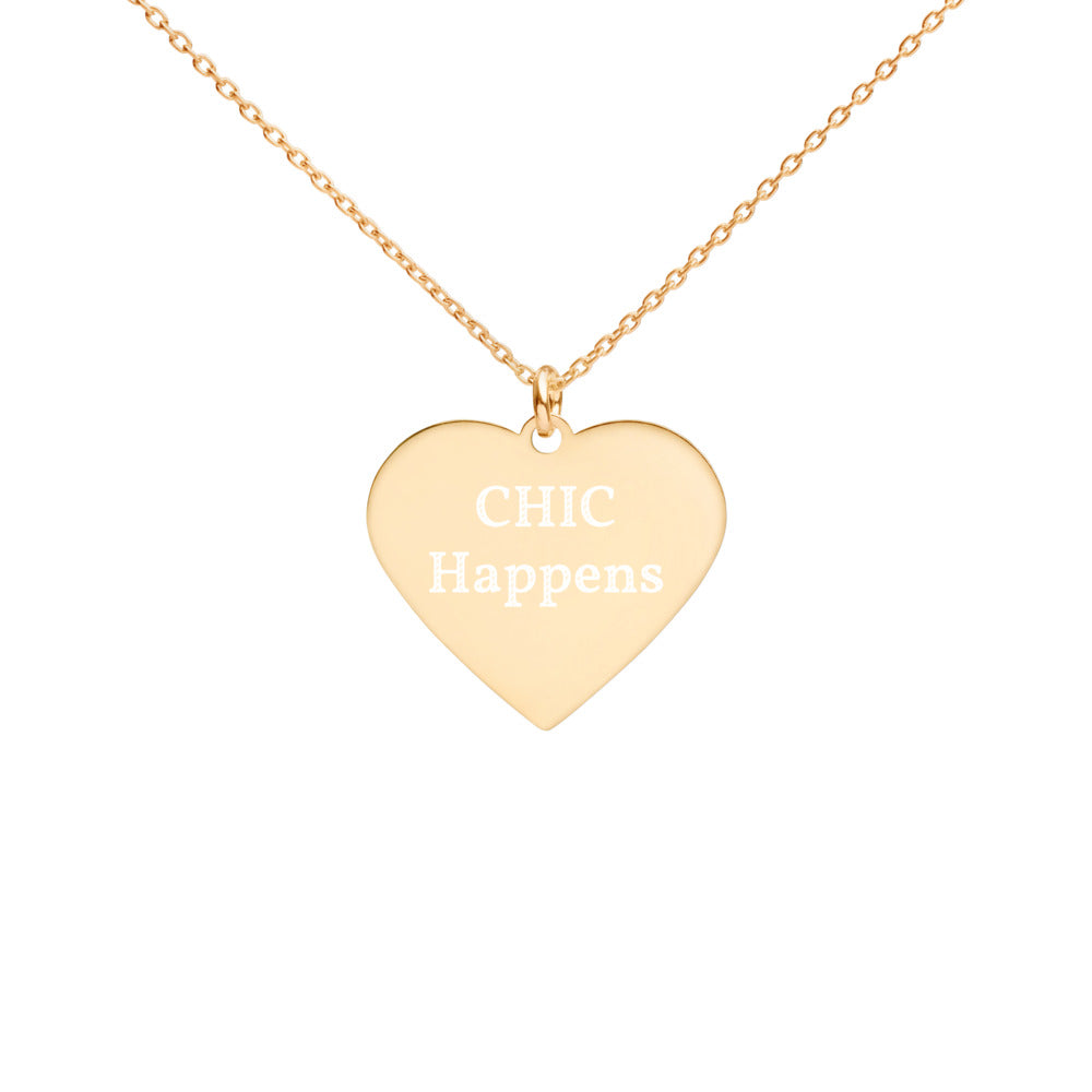 Chic Engraved Gold Heart Necklace