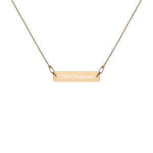 Engraved Gold Bar Chain Necklace