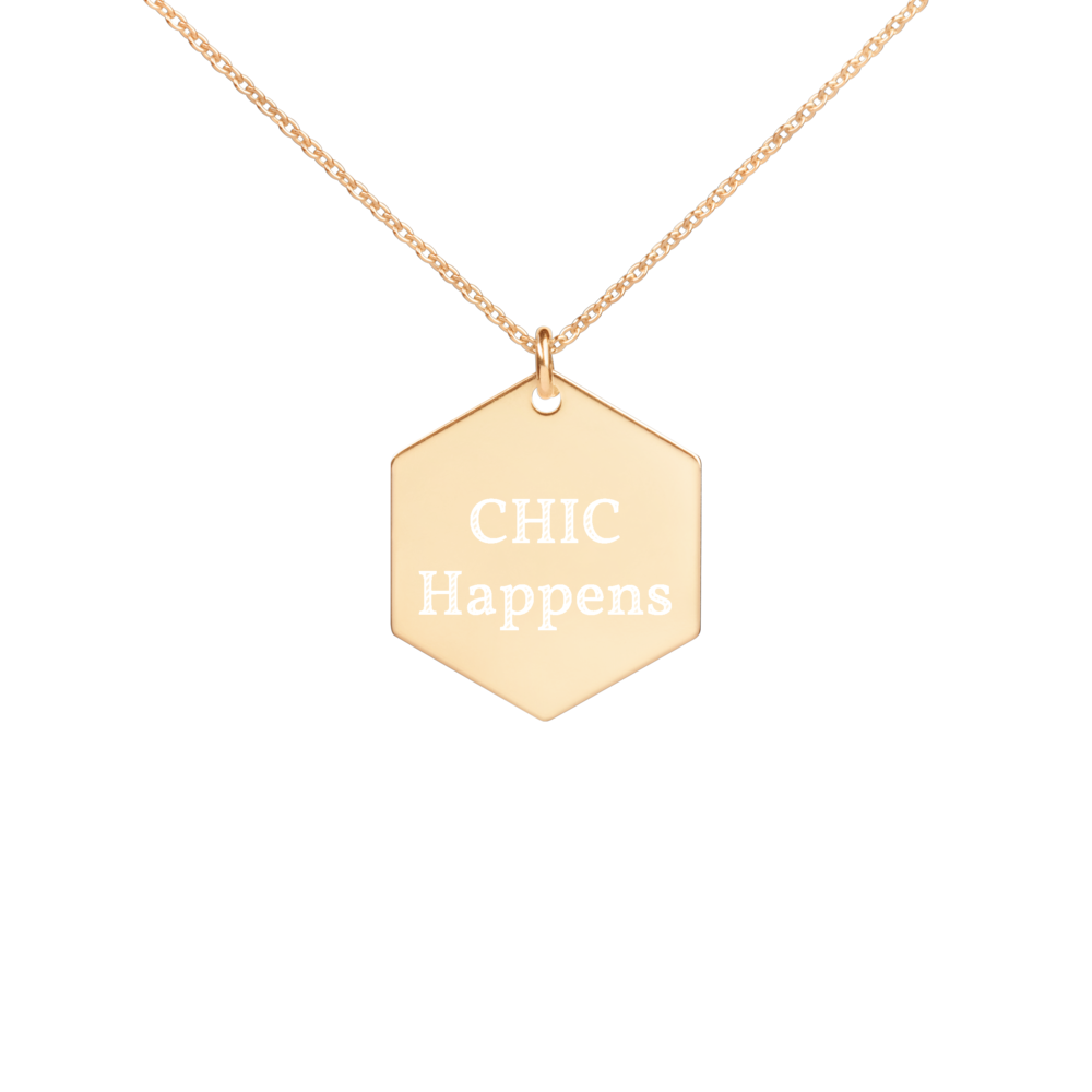 Chic Engraved Gold Hexagon Necklace