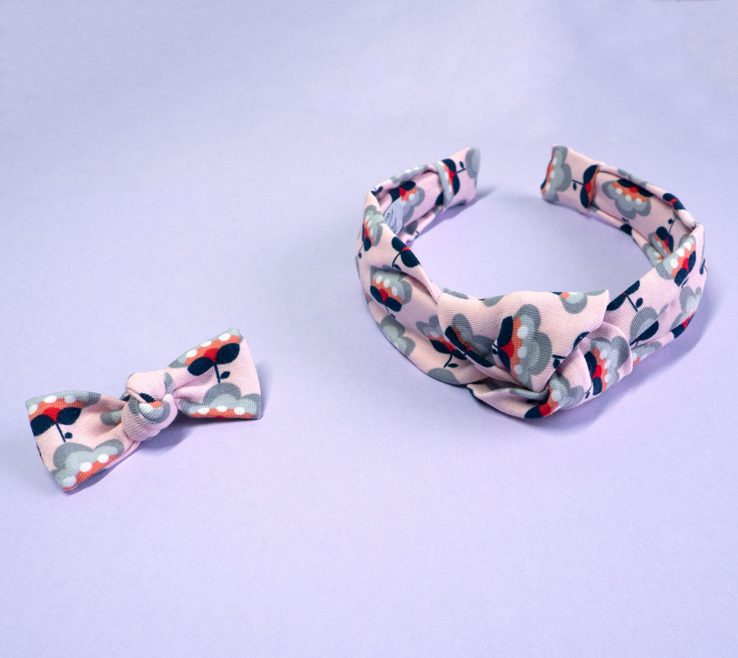 Flower Power Knotted Headband & Matching Baby Hair Clip