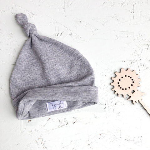 Marl Grey Top Knot Baby Hat