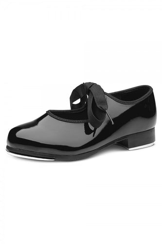 DN3720 Bloch Ribbon Tie Tap Shoe (Black Patent Leather)