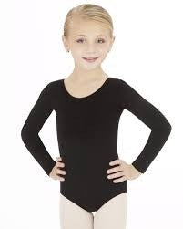 CC450C Capezio Children's Cotton Long Sleeve Scoop Neck Leotard