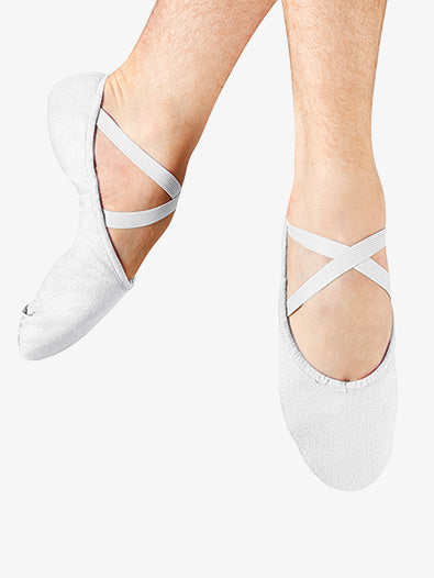 S0277M Bloch Men's Split Sole Canvas Ballet Slipper (White)