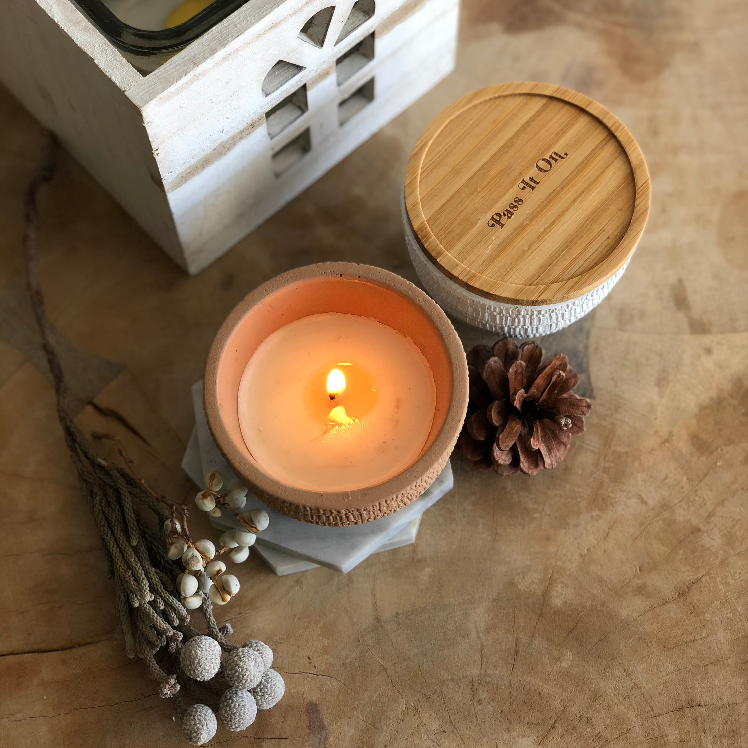 Bamboo Wood Candle Cover