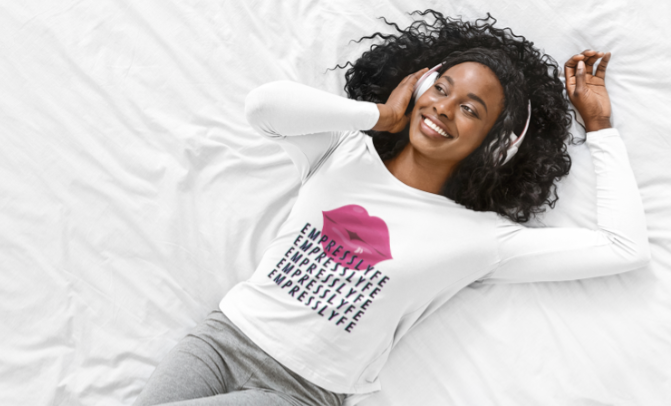 EmpressLyfe Lips Fitted Long Sleeve Tee