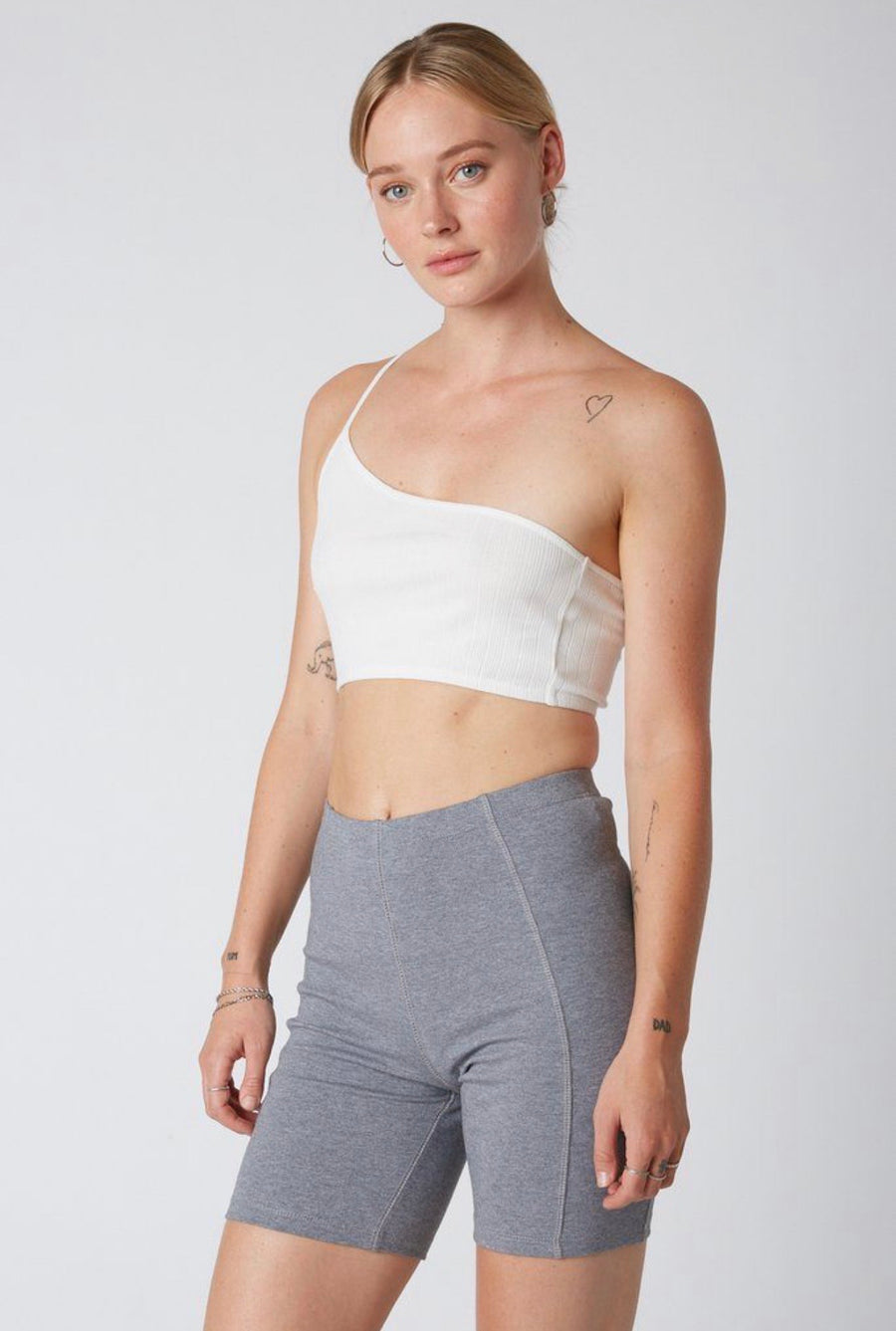 Seamed Biker Short Grey