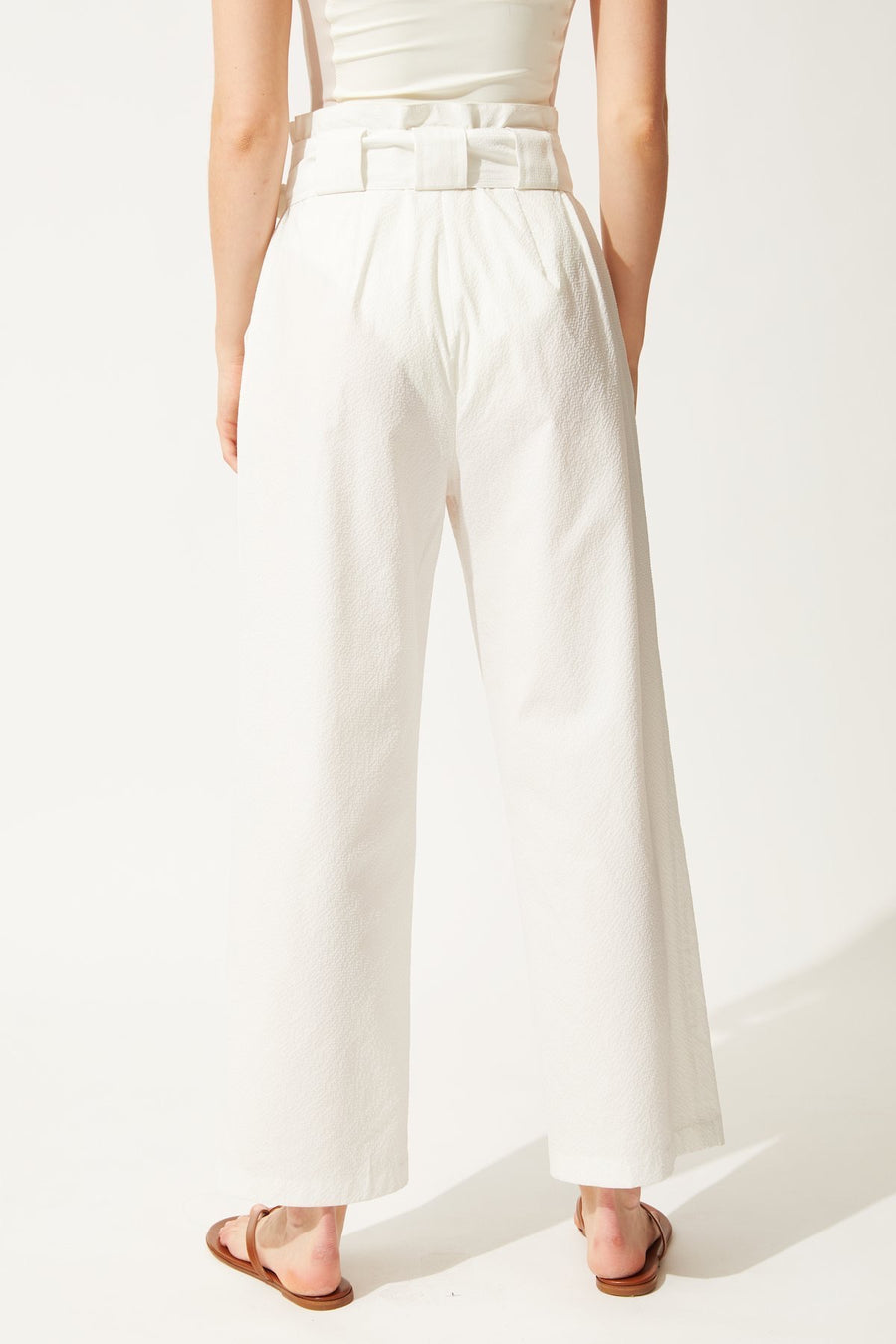 White High Waisted Pants