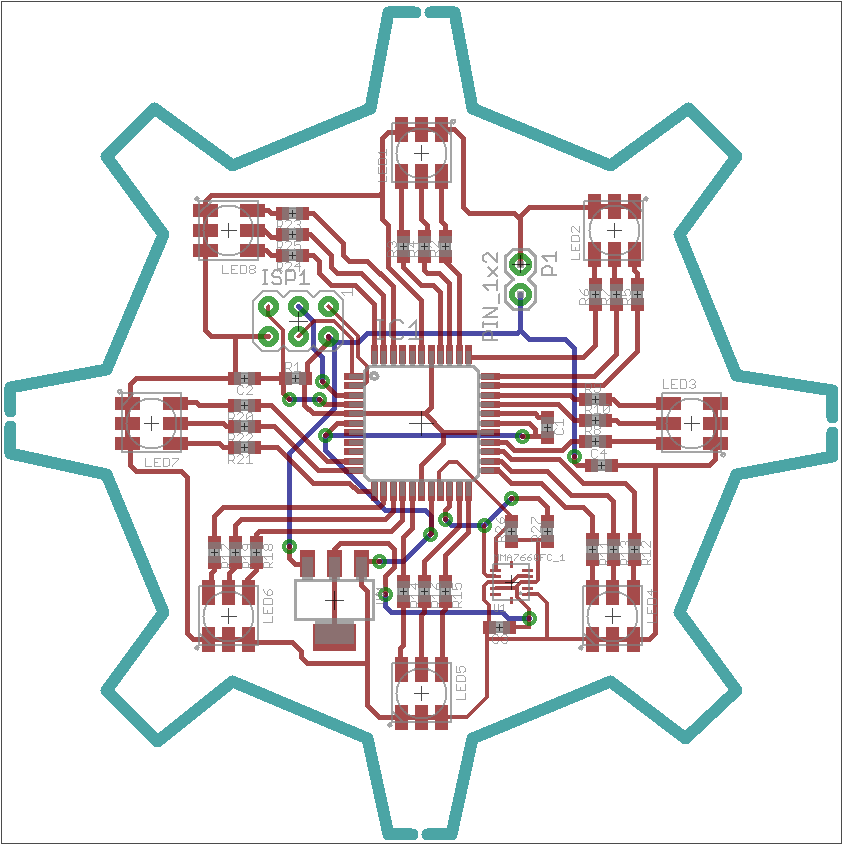 Layout of PCB with ATMega 16, MMA7660FC and RGB LEDs