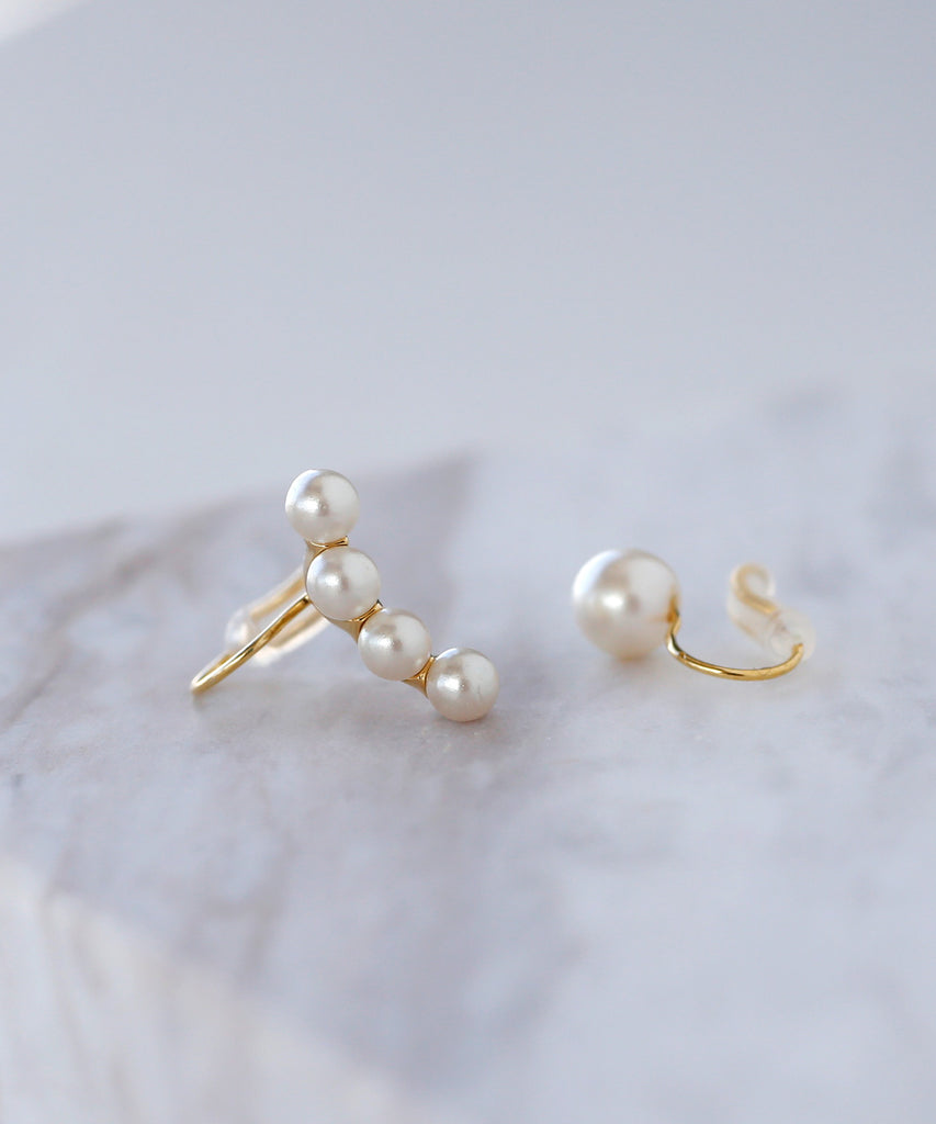 Pearl Asymmetry Chip On Earrings[Sheerchic]