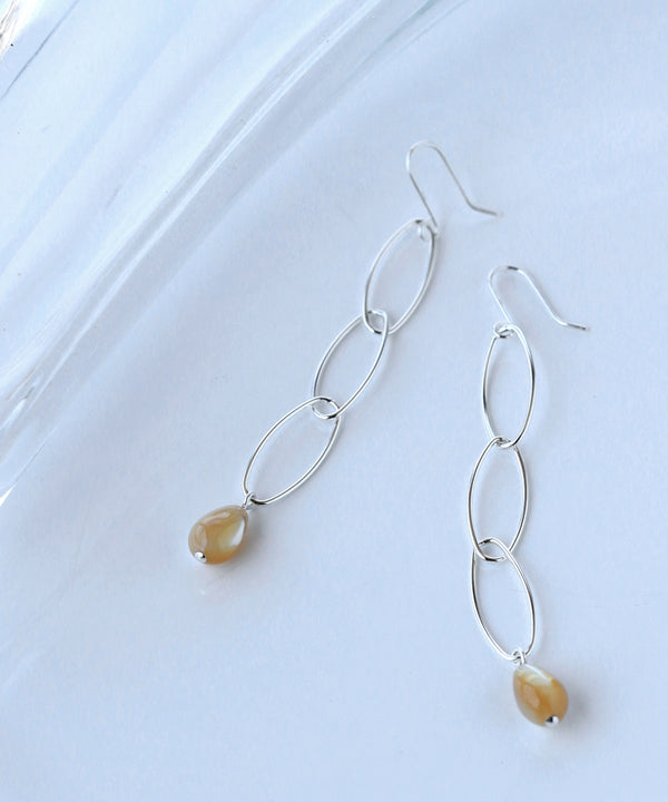 Drop Motif shell Earrings[Basic][925silver]