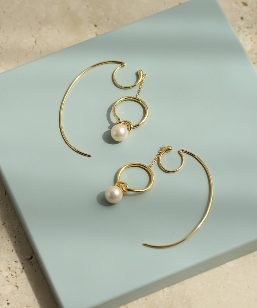 Pearl and Hoop Clip On Earrings[Sheerchic]