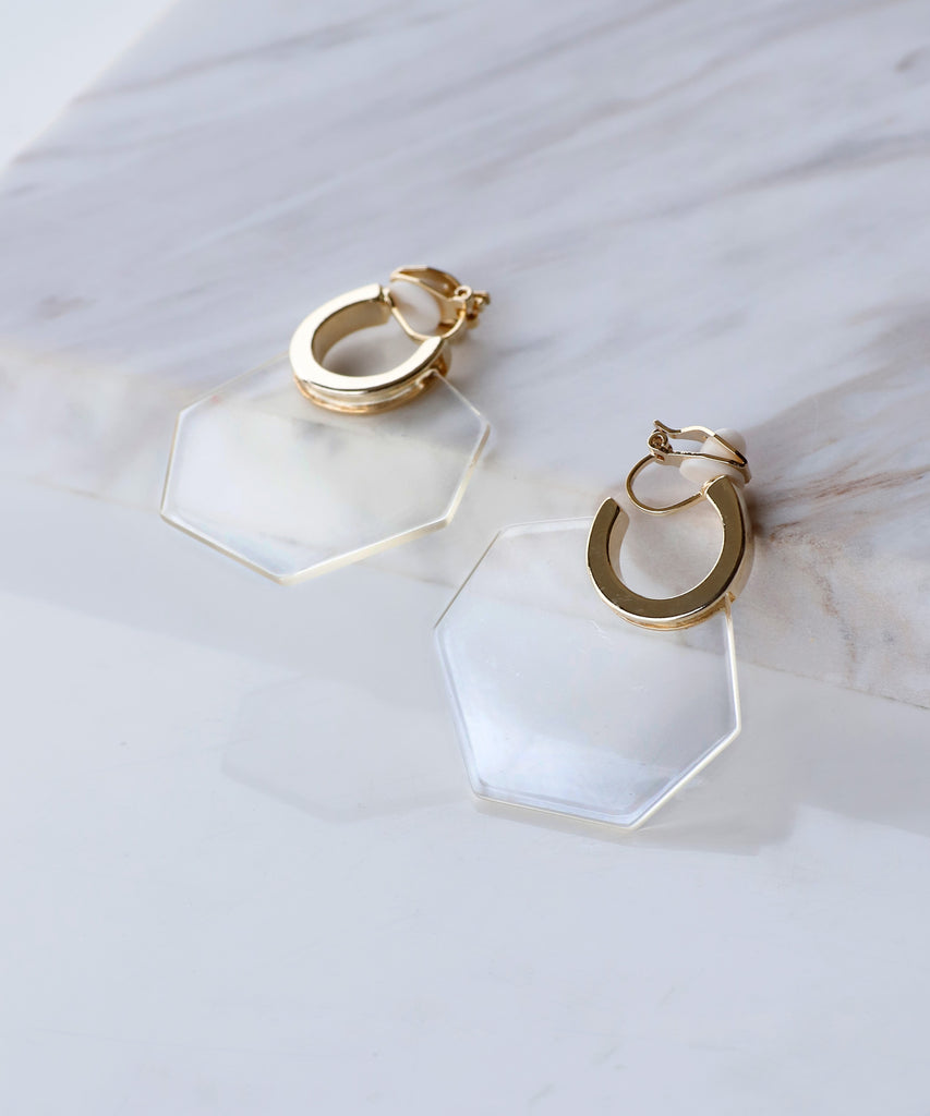 Clear Plate Clip On Earrings[Ownideal]