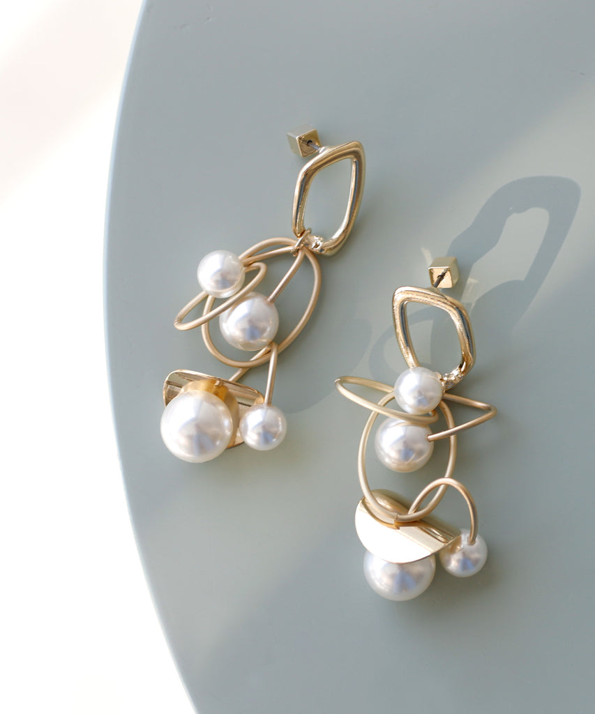 Metal and Pearl Earrings[Ownideal]