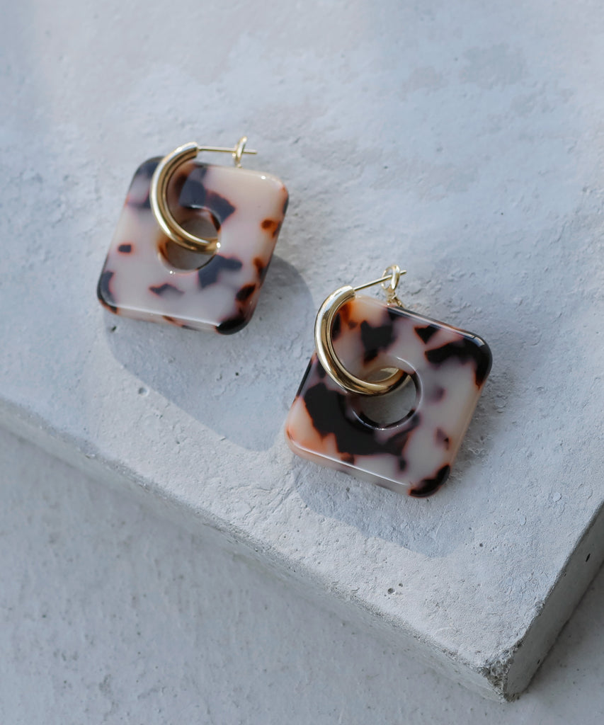 Marble Square Earrings[Ownideal]