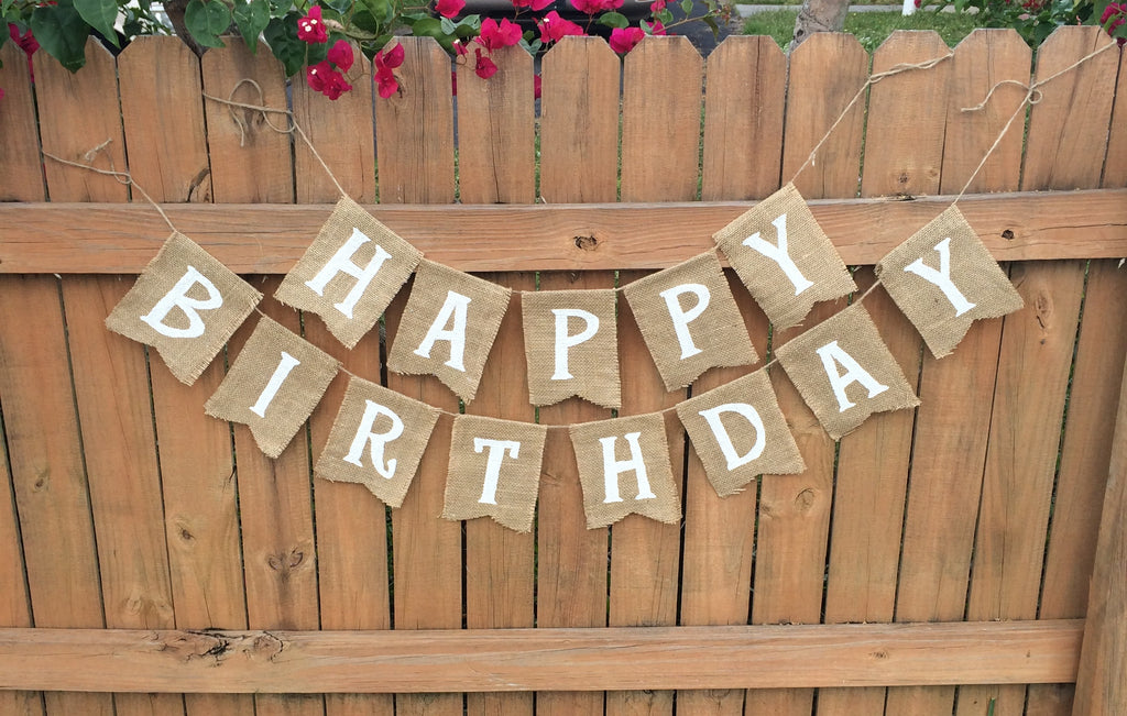 'Happy Birthday' Burlap Banner - The Rustic Chic Boutique