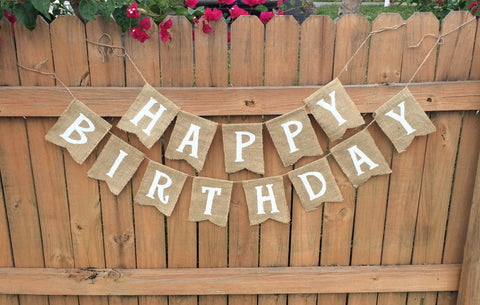 'Happy Birthday' Burlap Banner