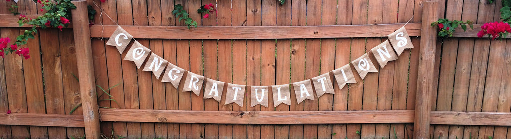 'Congratulations' Burlap Banner - The Rustic Chic Boutique