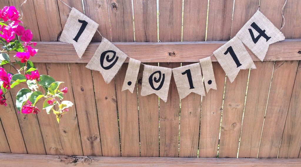 Wedding Date Burlap Banner - The Rustic Chic Boutique