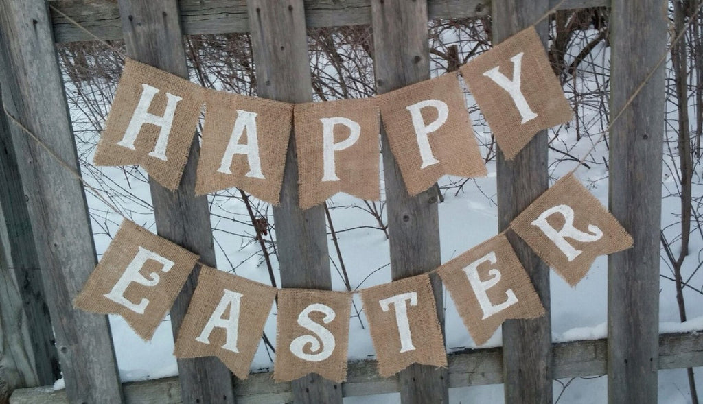 Happy Easter Burlap Banner