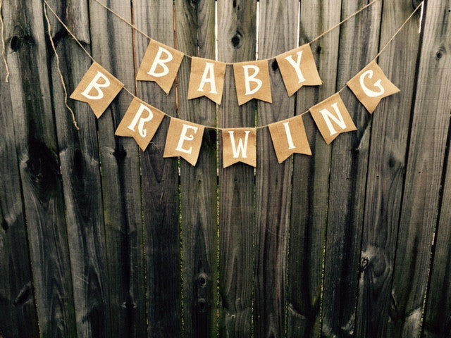Burlap 'Baby Brewing' Banner - The Rustic Chic Boutique
