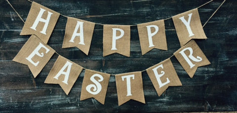 'Happy Easter' Burlap Banner