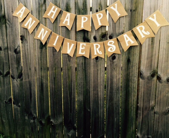 Burlap 'Happy Anniversary' Banner - The Rustic Chic Boutique