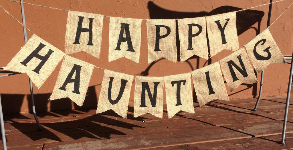 'Happy Haunting' Burlap Banner - The Rustic Chic Boutique