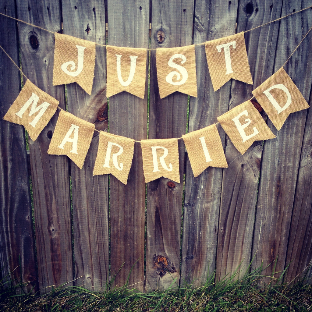 Burlap 'Just Married' Banner - The Rustic Chic Boutique