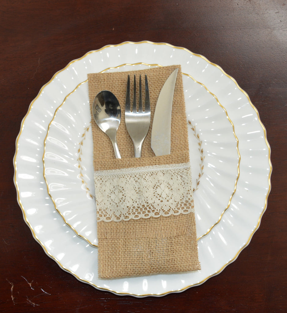 Burlap Silverware Holders - Lace Option 3 - The Rustic Chic Boutique