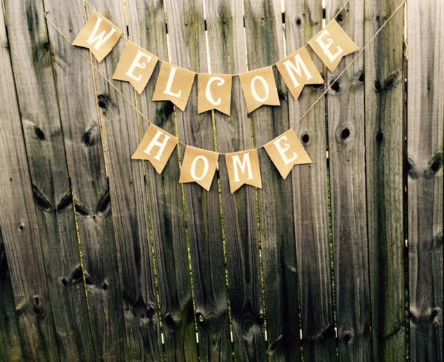Burlap 'Welcome Home' Banner - The Rustic Chic Boutique