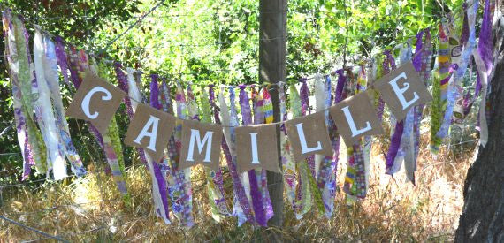 Personalized Burlap & Fabric Name Banner - The Rustic Chic Boutique