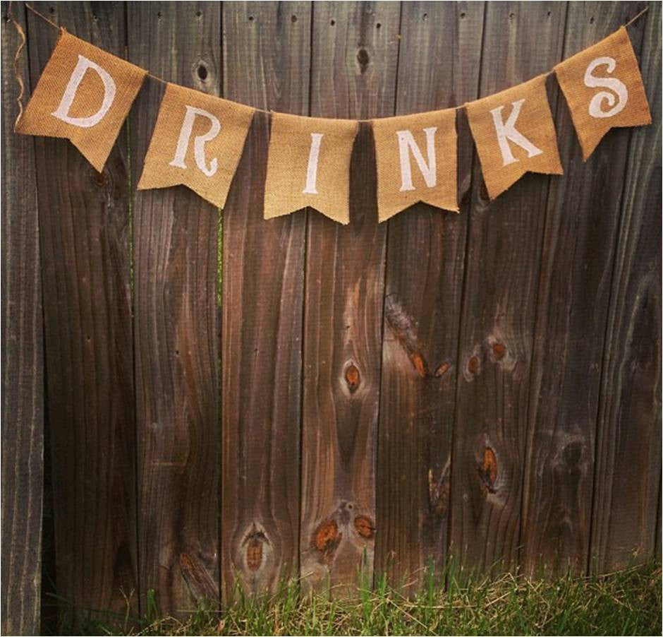 Burlap 'Drinks' Banner - The Rustic Chic Boutique