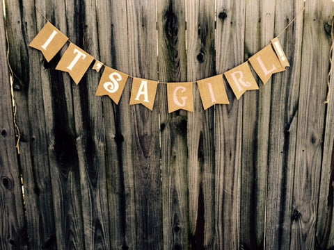 'It's A Girl!' Burlap Banner