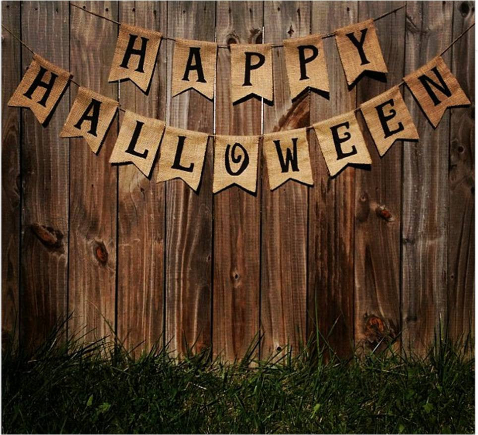 'Happy Halloween' Burlap Banner - The Rustic Chic Boutique