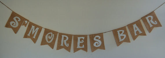'Smores Bar' Burlap Banner - The Rustic Chic Boutique