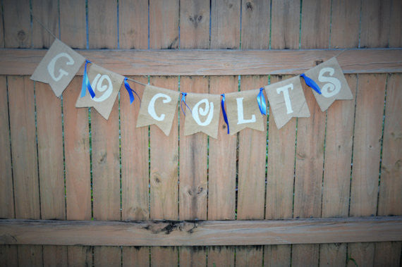 'Go Colts' Burlap Banner - The Rustic Chic Boutique