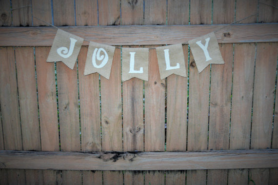 'Jolly' Burlap Banner - The Rustic Chic Boutique