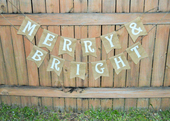 'Merry & Bright' Burlap Banner - The Rustic Chic Boutique
