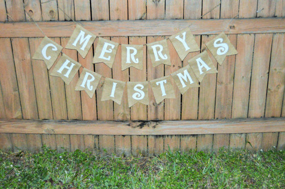 'Merry Christmas' Burlap Banner - The Rustic Chic Boutique