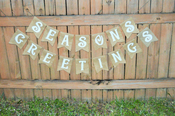 'Season's Greetings' Burlap Banner - The Rustic Chic Boutique