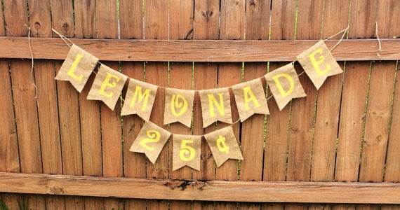 'Lemonade Stand 25 Cents' Burlap Banner - The Rustic Chic Boutique